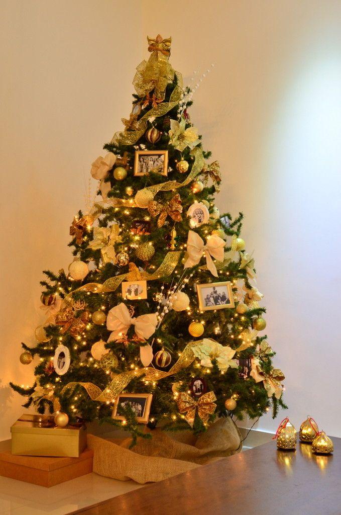 decoracao arvore de natal vermelha: De Natal Dourada no Pinterest