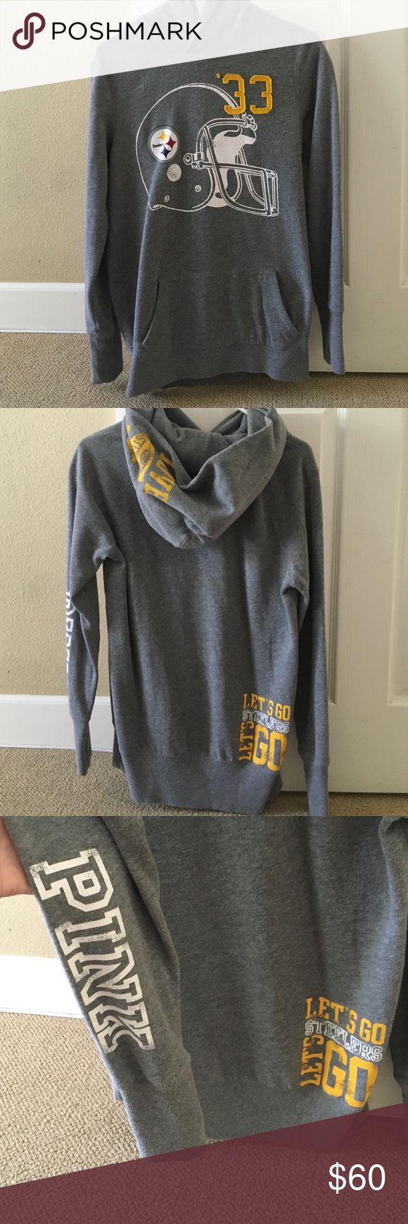 Victoria's Secret size medium Steelers sweatshirt Only worn once size medium Grey Victorias Secret Pittsburgh Steelers hooded sweatshirt. Pink logo down the sleeve, steelers helmet on the front, love steelers logo on the hood and logo on the lower back as well.very cute and in perfect condition. Victoria's Secret Tops Sweatshirts & Hoodies