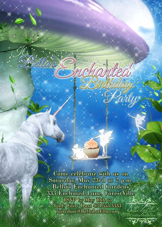 Unicorn Party Unicorn Party Invitation With Fairies by BellaLuElla, $11.00