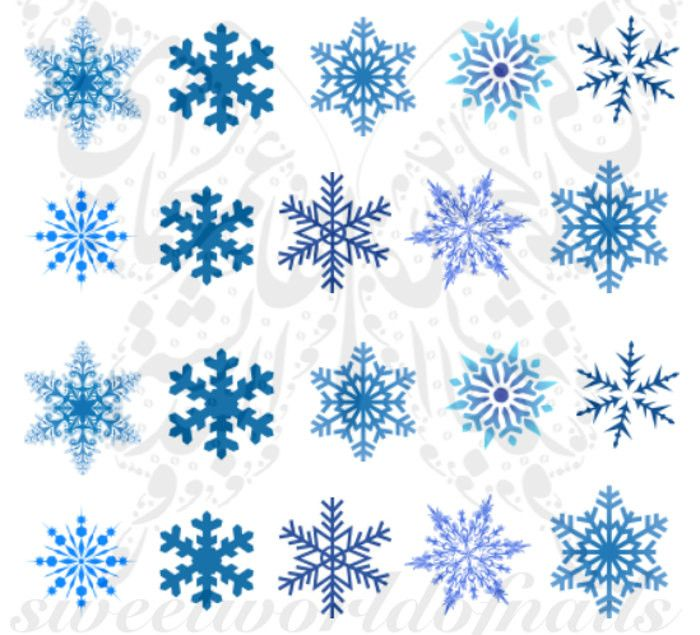 Christmas Xmas Nail Art Blue Snowflakes Water Decals Nail Transfers Wraps