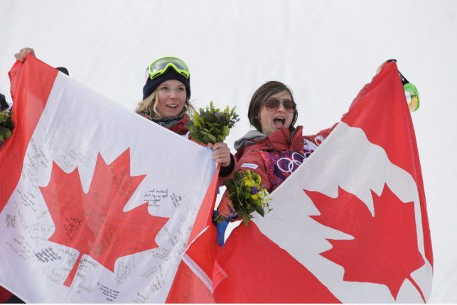 Canada's Dara Howell and Kim Lamarre celebrate after the women's slopestyle ski final. (AP Photo)
