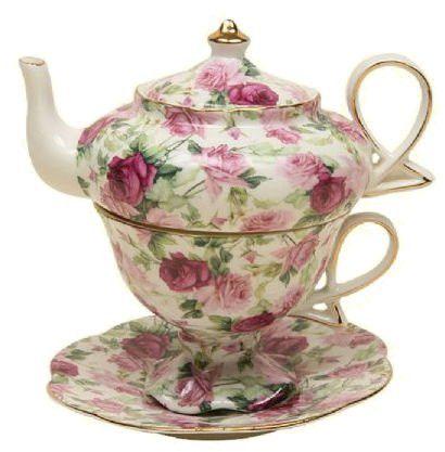 Summer Rose Chintz Porcelain Tea for One Set - Roses And Teacups