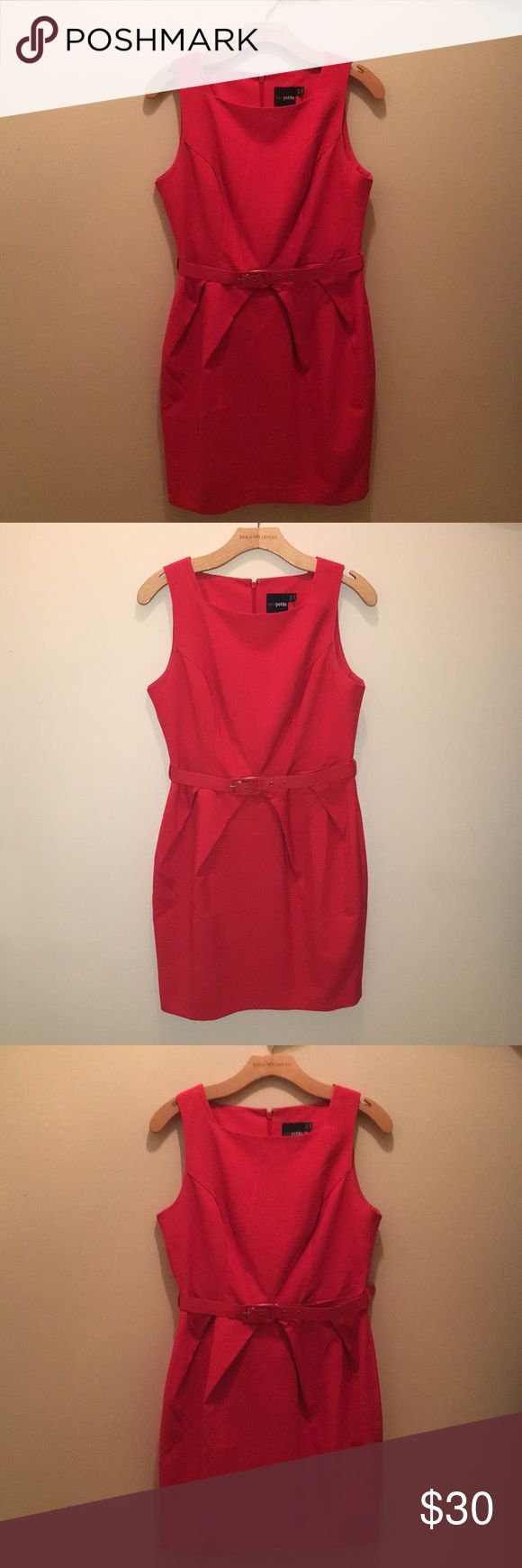 ASOS Petite US Size 8 Belted Dress Reddish/orange ASOS Petite pleated mini dress with belt. Great for day to day or business casual looks. Dress is fitted and includes belt loops. Lightly used, great condition. ASOS Petite Dresses Mini