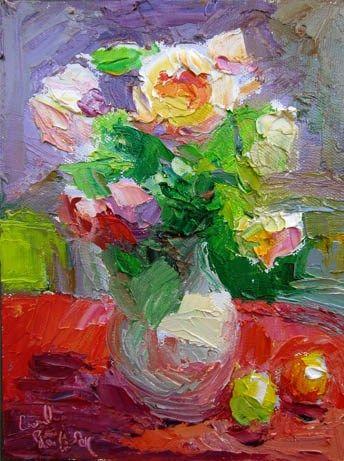 "Daily Paintworks - ""Tamora Roses, White Jug, Burgu..."" by Carol Steinberg"