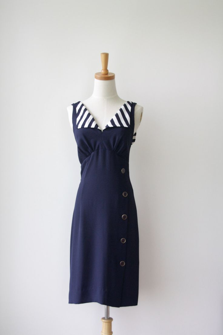 90s navy sailor dress. Blue stripe 90s dress. Summer button up dress. Blue…