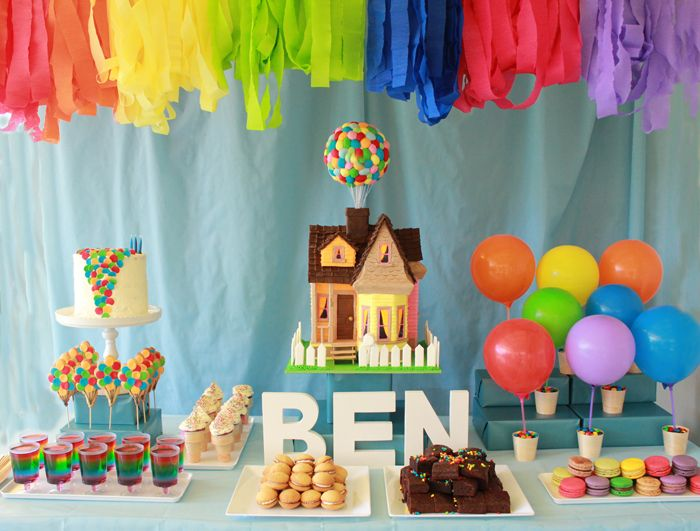 "(Oh how I love this)! A birthday dessert table inspired by the movie ""Up""  : )"