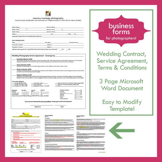 Wedding Photography Contract Template  business form by memorymp, $13.00