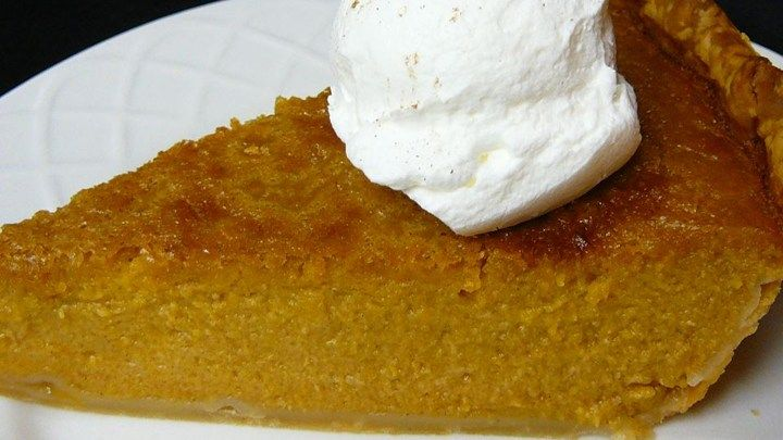A mixture of fresh pumpkin puree, brown sugar, spices, evaporated milk and eggs…