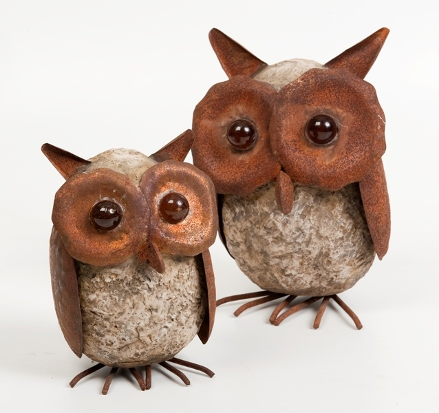 Resin and metal garden owls