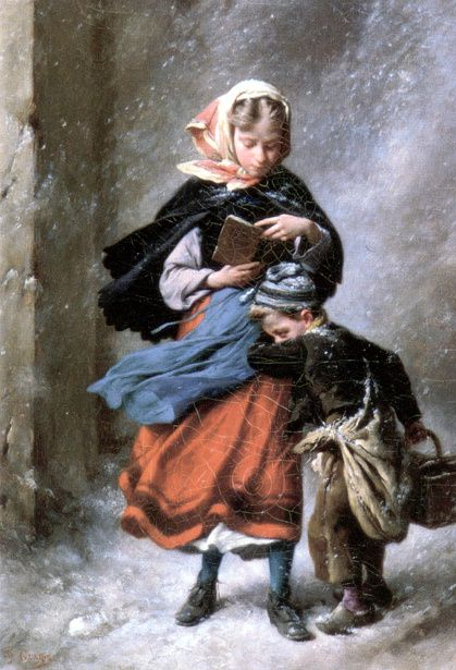 """""""On their way home"""". Paul-Felix Guerie (1819 – 1895, French)"""