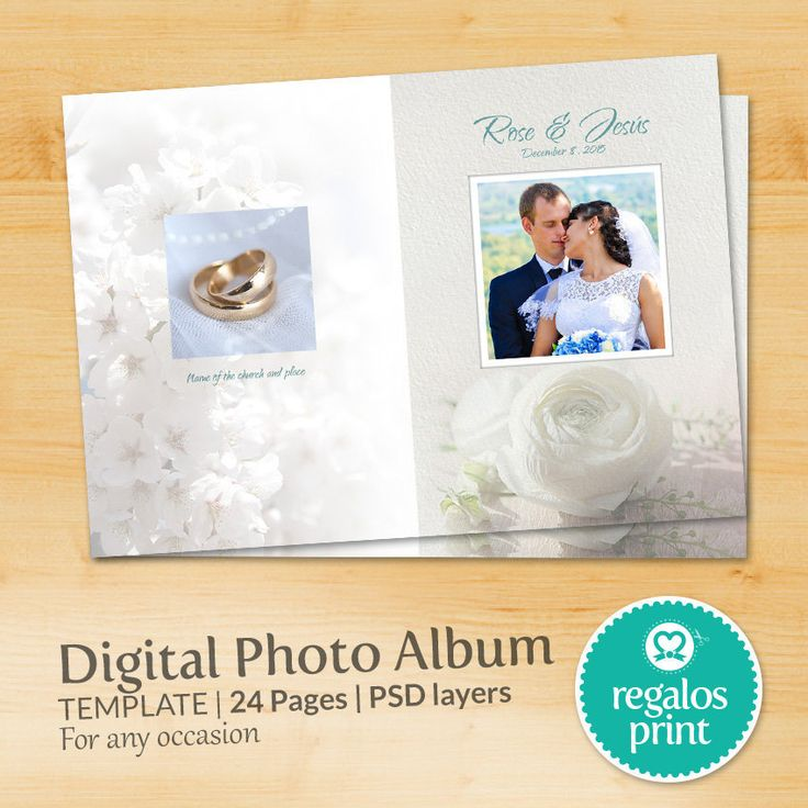 Digital Photo Album Template PSD Delicate Elegant Photoshop Template white flowers - A4 - 24 pages  -  for any occasion wedding baptism de RegalosPrint en Etsy