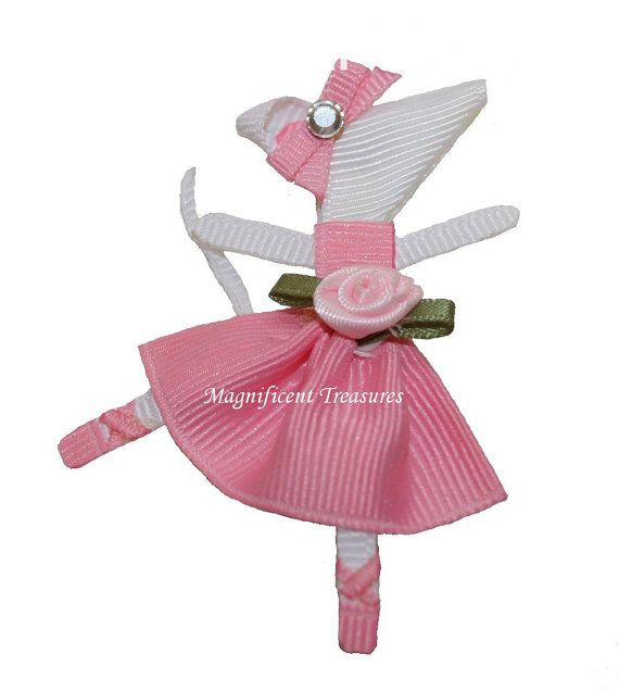 Angelina Ballerina hair clip made out of grosgrain ribbon.  This is cute!!! Cute party favor idea!