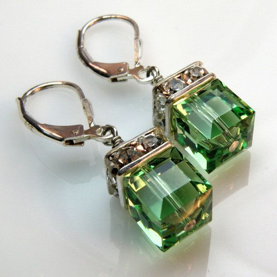 Peridot Crystal Earrings Green Silver Drop Dangle by fineheart