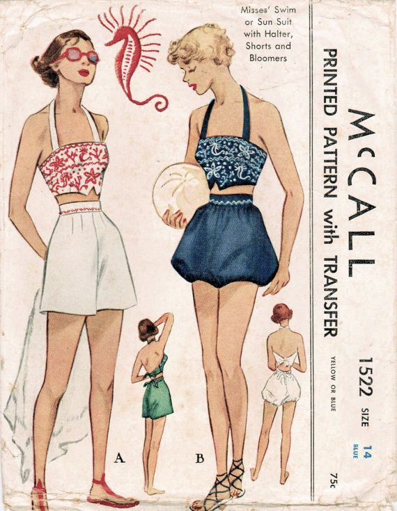 50s McCall 1522 Vintage Sewing Pattern Misses' Swim Suit or Sun Suit Halter Top, Shorts, Bloomers