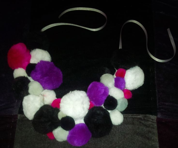 Good n' Plenty POM-POM Bib Necklace. VERY affordable custom jewelry! To purchase - CONTACT: jerricouncil@gmail.com