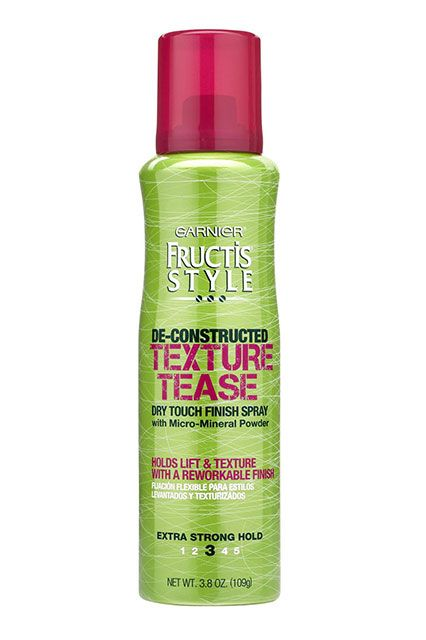 "The Best Products For Your Hair Needs #refinery29 http://www.refinery29.com/hair-styling-products#slide17 Long Hair: Messy Updo Texturizing hairsprays are a hairstylist's new best friend, because they add great grip. Unfortunately, they're not exactly cheap. Ristaino swears by Garnier Texture Tease — for all textures. ""I particularly like using it when styling a messy chignon, or beach waves, with all hair types,"" he says. ""It basically gives you that sexy, voluminous hair that's ..."