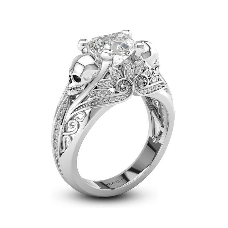 Vintage Inspired Skull Wedding Ring #skull #wedding #ring
