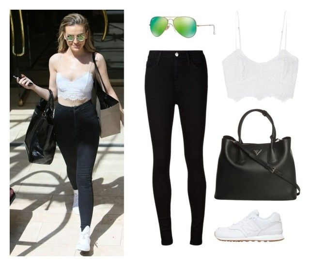 """Get the look-Perrie Edwards"" by little1kitten ❤ liked on Polyvore featuring Miguelina, AG Adriano Goldschmied, New Balance, Prada and Ray-Ban"