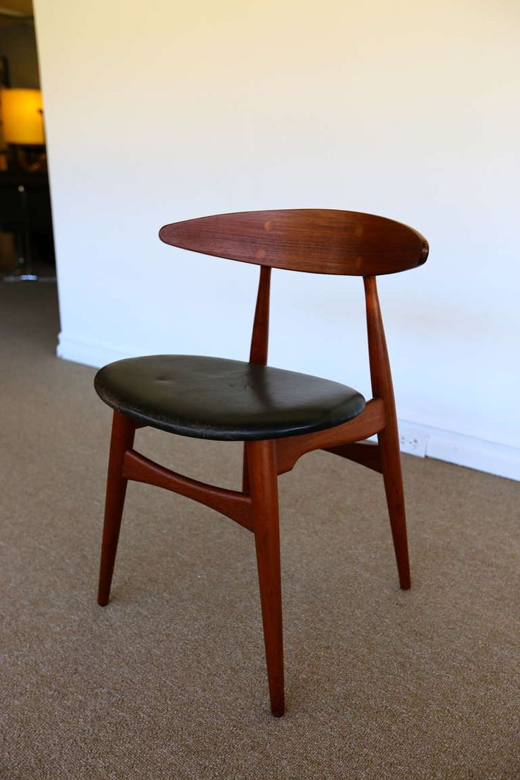 Hans Wegner Ch33 Teak And Leather Side Chair For Carl