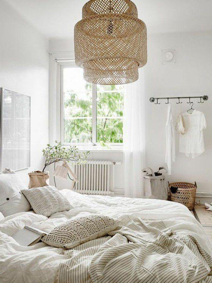 Couleur de chambre blanc bois nature cosy id es d co boh me chambre a coucher design - Chambre deco nature ...