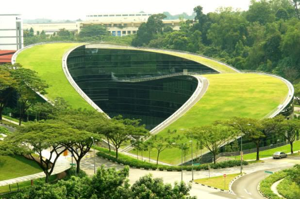 The recently completed school of art , design , and media at Nanyang technological univercity in Singapore