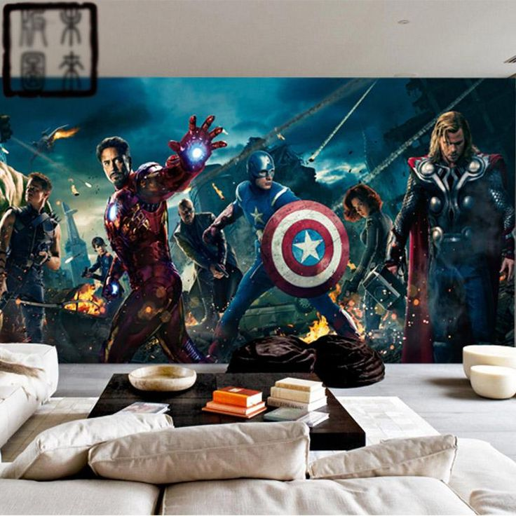Best Marvel Avengers Heroes Photo Wallpaper 3D Wall Mural Kids 400 x 300