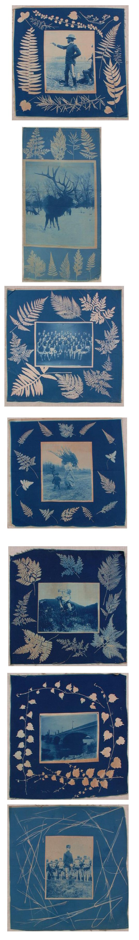 Cyanotypes printed on cotton textile fragments, ca.1900, by George E. Stonebridge. Gift of George E. Stonebridge, New-York Historical Society, 1942.83.
