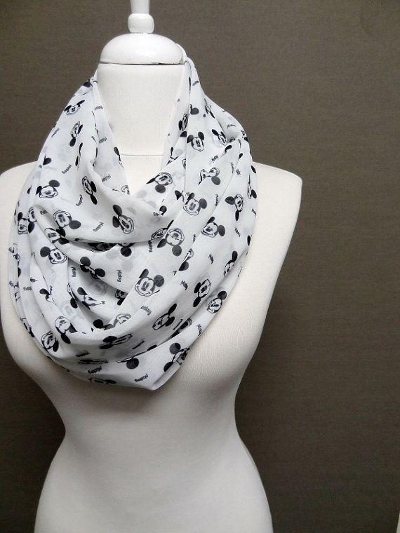 Walt Disney Mickey Mouse pattern Chiffon Infinity scarf, Circle Scarf, Loop Scarf, Scarves, Spring - Fall - Winter - Summer fashion on Etsy, $15.00