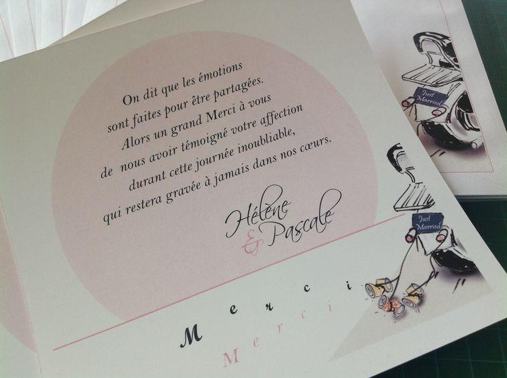 "Collection mariage ""Moto - Harley"". Carton de remerciements avec enveloppe personnalisée. Mariage gay"