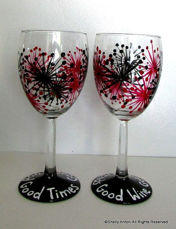 8 Best Images About Painted Wine Glasses On Pinterest
