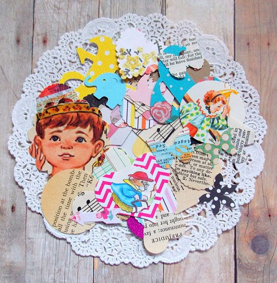 Assorted Paper Confetti Mix / 100 Pieces / Junk Journal /