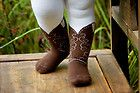 INFANT/TODDLER COWBOY BOOT TIGHTS, BROWN BOOTZIES FOR YOUR  COWGIRL, SZ 6-18 MOS