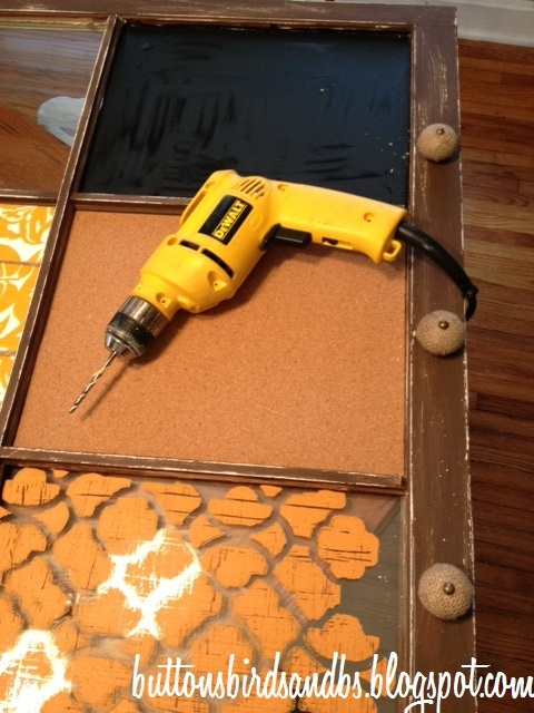 How to drill holes into old windows to add hanging storage!  DIY window message board!