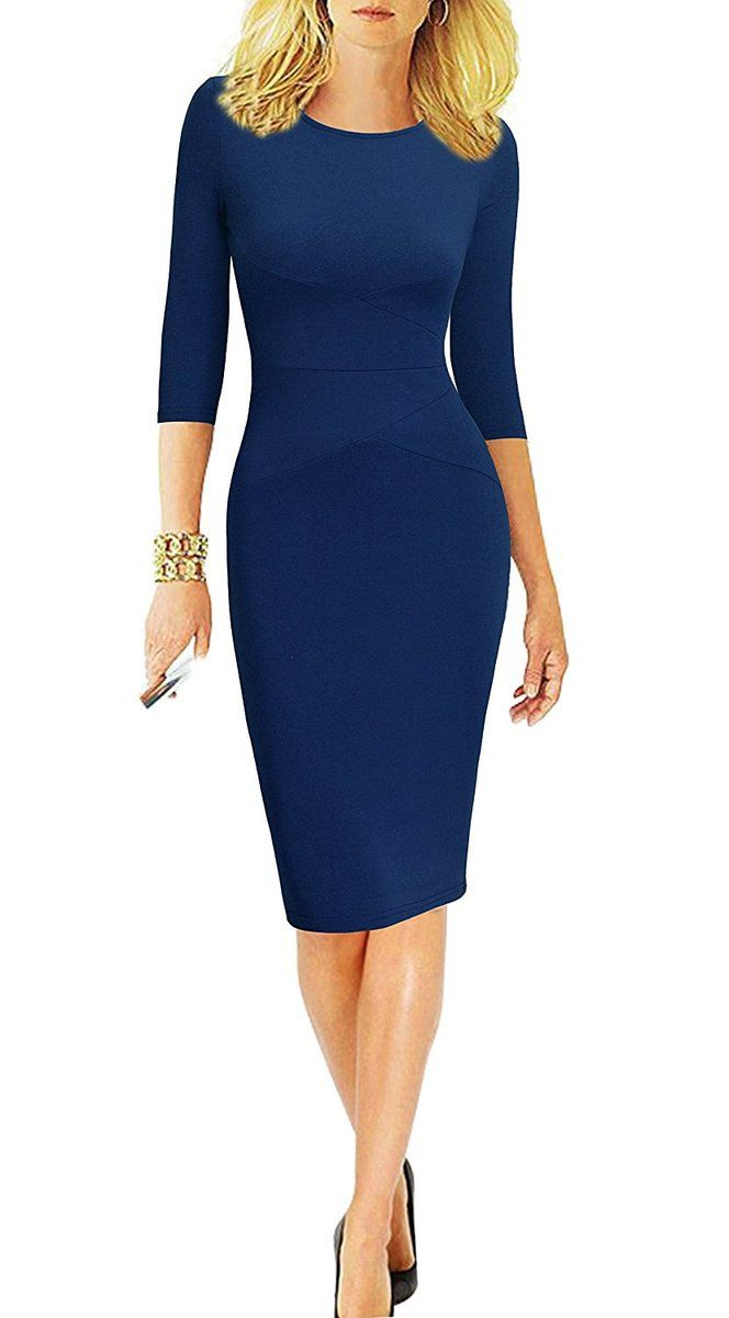43013889d133c Round Neck, 3/4 Sleeve, Striped fashionable office dress. For work,  business office, casual, cocktail, party and so on. Low Temperature and  Hand-clearning ...