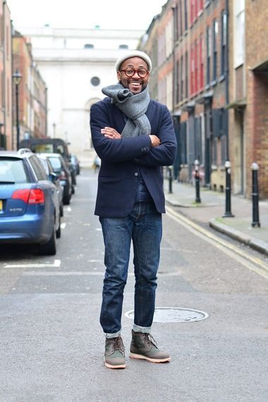 Grey Muffler Blue Jean Men Fashion