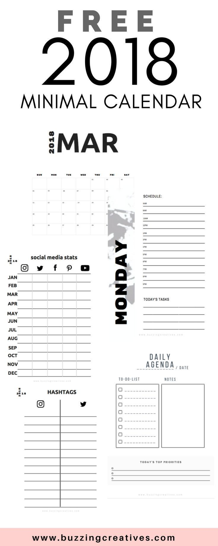 free 2018 calendar planner - organize your blog, keep track of your social media stats, monthly calendar and daily planner . All are fillable pdfs! #planner #2018planner #freeplanner #freeprintable #freecalendar #newblogger #bloggingtips