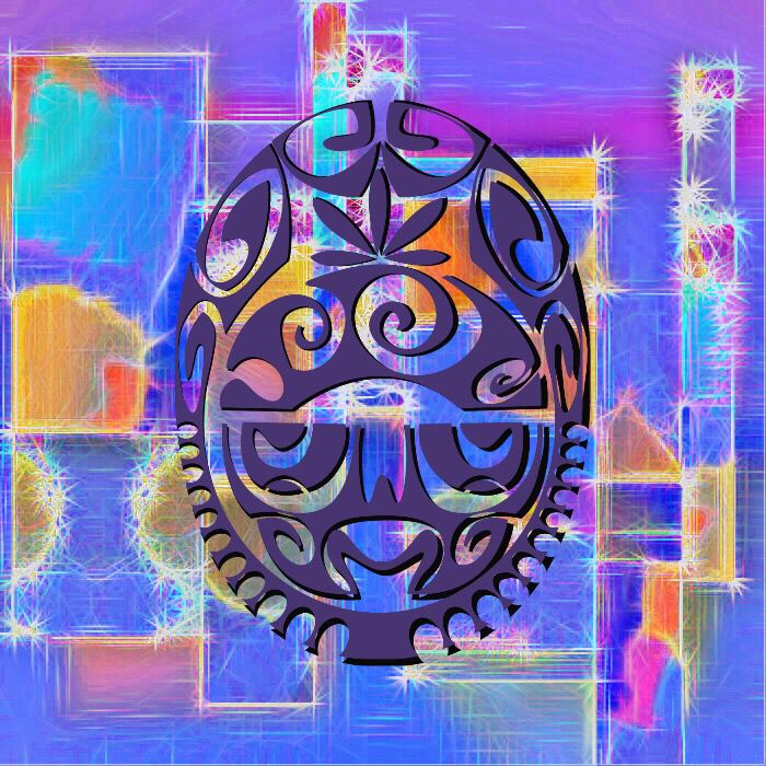 Featuring an ancient mask on a very modern concoction of blended colours.