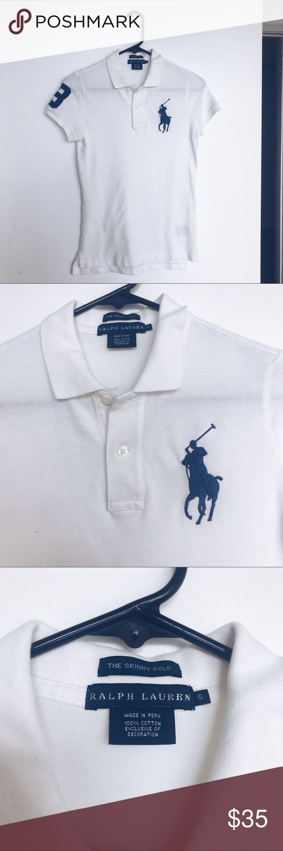 """• blue white skinny polo shirt big pony • Skinny Fit: a body-conscious silhouette without any stretch. Size medium has a 24½"""" front body length, a 25½"""" back body length, and a 35"""" bust. Ribbed Polo collar. Two-button placket. Short sleeves with ribbed armbands. Tennis tail. Signature embroidered Big Pony at the left chest. 100% cotton. Machine washable. Imported. Model is 5'10""""/178 cm and has a 32"""" bust. She wears a size small. Ralph Lauren Tops Tees - Short Sleeve"""