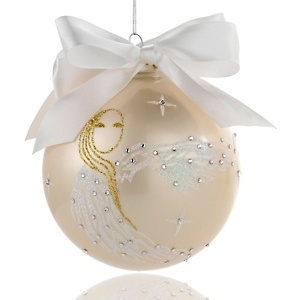 HSN Cares Mary J. Blige Heart Ornament ~  Bring elegance, grace and angelic beauty to your holiday decor as you become an inspiration to children in need. This mouthblown glass ball, in a lustrous white pearl finish and made with Swarovski® Elements, is intricately decorated by hand with paint and glitter. The golden-haired phoenix with white flowing tresses and wings is the symbol of recording artist Mary J. Blige's FFAWN foundation, which was created to empower young women to reach their…
