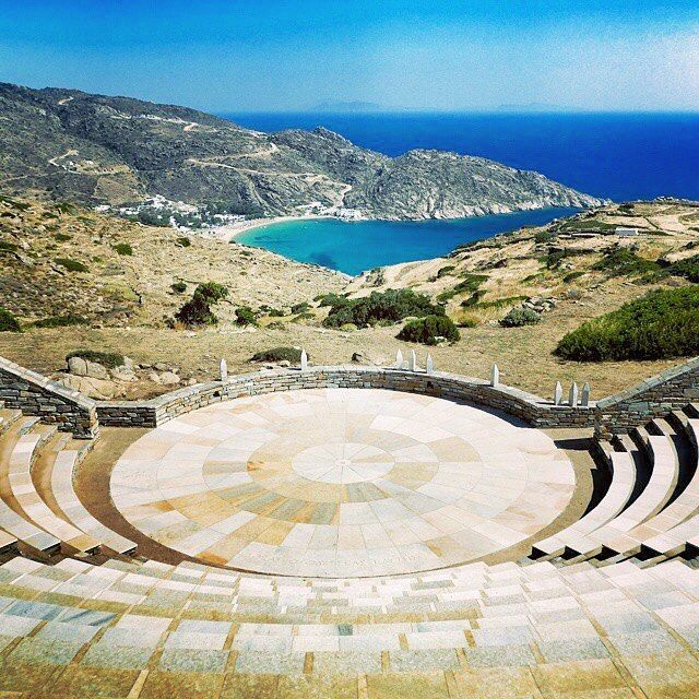 The famous Odysseas Elytis theatre , at Ios island (Ίος) . It is located at the top of the hill of Chora village and is made of marble in Ancient Greek style !