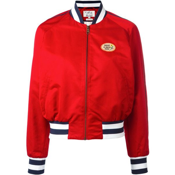 Tommy Hilfiger printed varsity jacket (€285) ❤ liked on Polyvore featuring outerwear, jackets, red, letterman jacket, red varsity jacket, teddy jacket, varsity-style bomber jacket and red jacket
