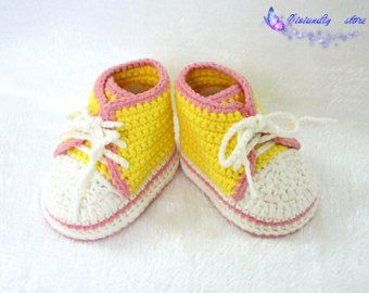 Crochet baby sneakers handmade converse shoes baby infant shoes for girls crochet baby shoes knitting shoes