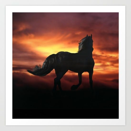 Horse kissed by the wind at sunset. Collect your choice of gallery quality Giclée, or fine art prints custom trimmed by hand in a variety of sizes with a white border for framing.