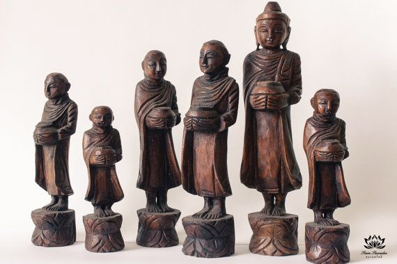 Wooden Buddhist Monk Statues Handmade. A complete by SiamSawadee, $149.99