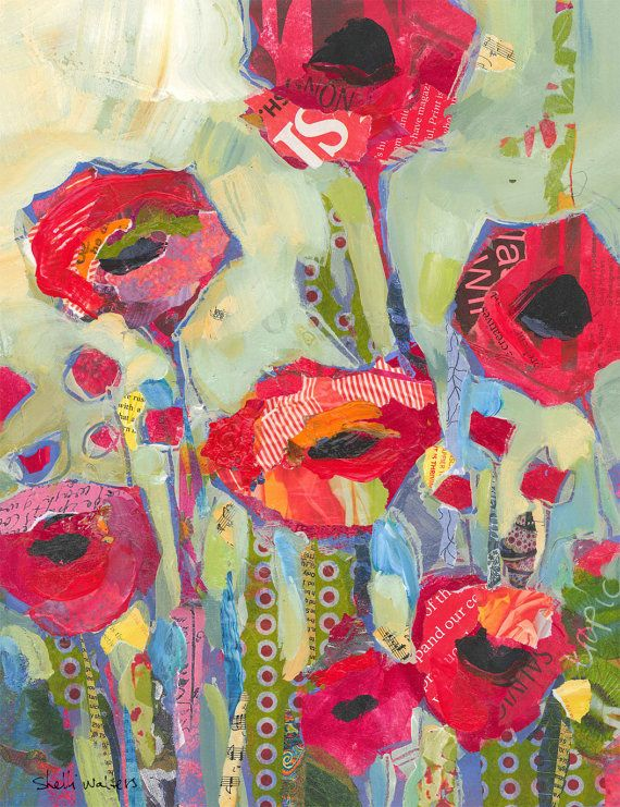 Amapolas rojas flores pintura Original por ShelliWalters en Etsy