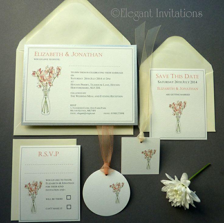 Coral Sweetpea Vase Country Garden Wedding Invitation Set
