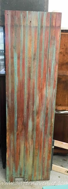 On Fern Avenue | Reclaimed barn door using Unicorn Spit in Zia Teal and Molly Red Pepper