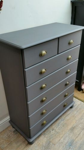 Stunning Pine Chest Of Drawers   Bun Feet Painted Grey   Shabby Chic  Industrial
