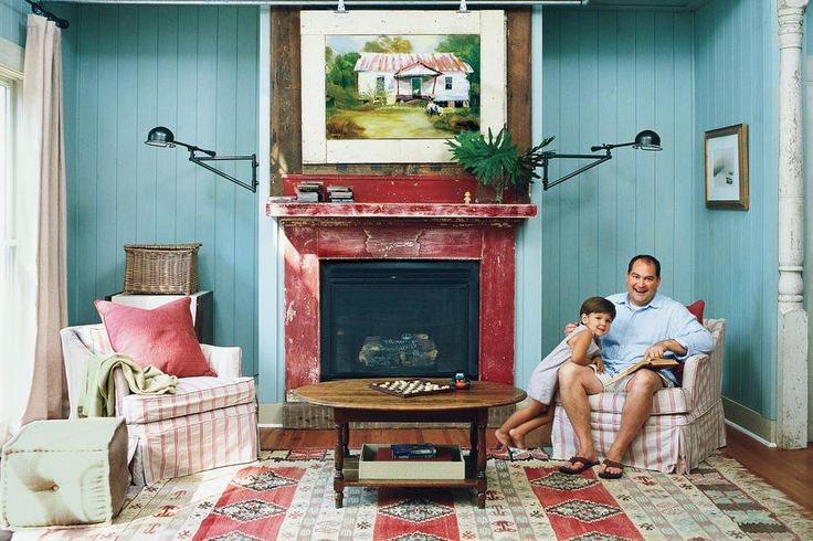 Get Patriotic - 108 Living Room Decorating Ideas - Southernliving. You can pull off a patriotic color scheme without being kitsch. Try hints of red with a pretty blue backdrop. Use natural linen instead of bright white. Bonus Tip! Hide the flat screen. The painting above the fireplace can be rolled along the galvanized metal track, revealing a television. See this Country Cottage