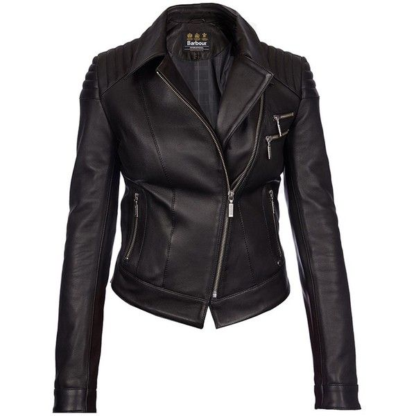 Women's Barbour International Farleigh Leather Jacket - Black ($1,025) ❤ liked on Polyvore featuring outerwear, jackets, motorcycle jacket, cropped motorcycle jacket, fitted jacket, barbour international jacket and real leather jacket